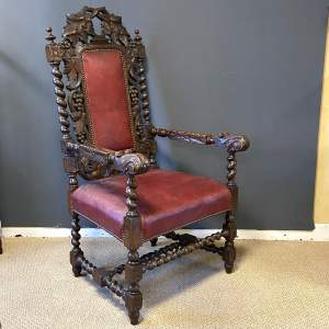 Victorian Carved Oak Hall Chair