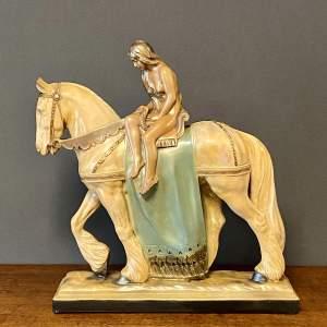 Art Deco Lady Godiva Plaster Figure
