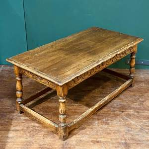 20th Century Carved Oak Coffee Table