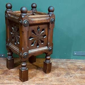 19th Century Gothic Carved Oak Jardiniere Stand