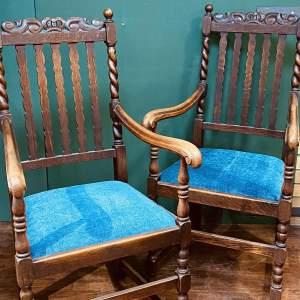 Pair of 20th Century Oak Barley Twist Chairs