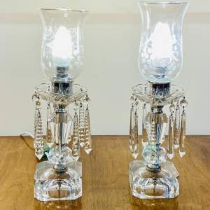 Pair of Early 20th Century Lead Crystal Table Lamps
