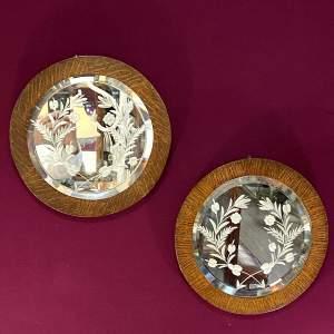 Pair of Late 19th Century Circular Oak Framed Wall Mirrors