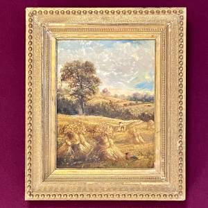 19th Century Haymaking Oil on Board Painting