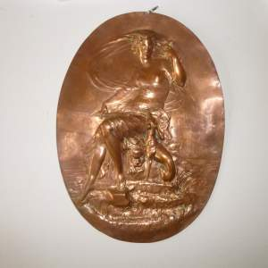 19th Century Art Nouveau Oval Copper Panel of Diana the Huntress
