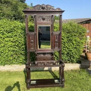 Stunning Victorian Carved Oak Green Man Hallstand