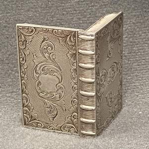 A Victorian Silver Vinaigrette In The Shape Of A Book