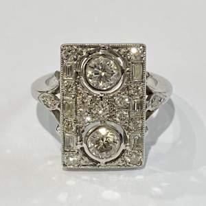 Art Deco Style 18ct White Gold Diamond Ring