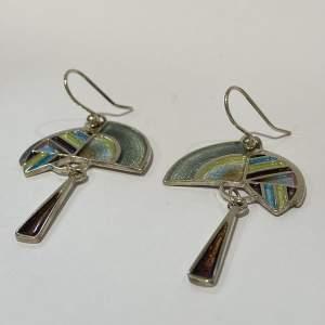 Pat Cheney Silver And Enamel Earrings