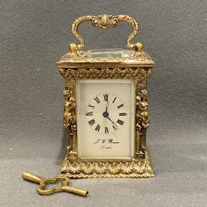 Engraved Brass Miniature Carriage Clock