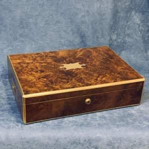 19th Century Brass Bound Walnut Military Box