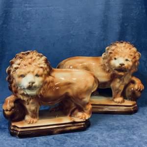 Good Pair of Staffordshire Lions Circa 1900