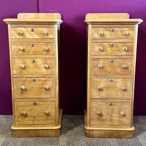Pair of Victorian Scottish Satin Birch Bedside Cabinets