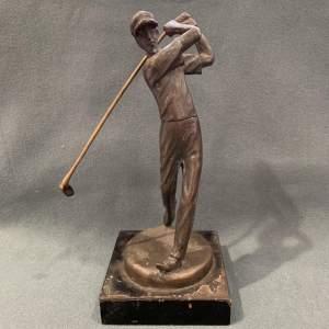20th Century Bronze Golfer Figurine
