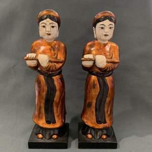 Pair Of Asian Pottery Figures