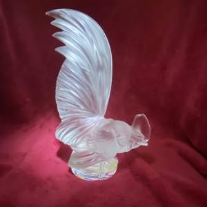 Lalique Coq Nain Glass Cockerel or Rooster Paperweight and Original Label
