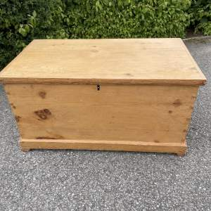 19th Century Pine Blanket Box With Metal Handles