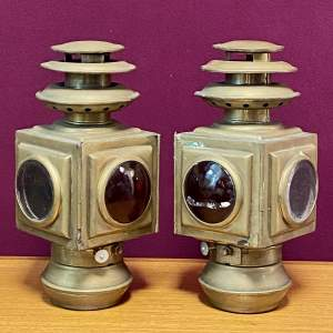 Pair of Brass Trap Lamps
