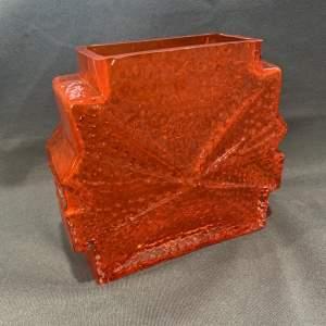 Riihimaen Lasi Stellaria Orange Cased Glass Vase