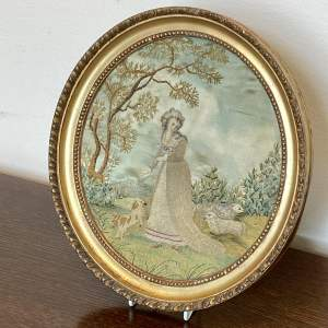 Georgian Silkwork of a Lady with a Dog