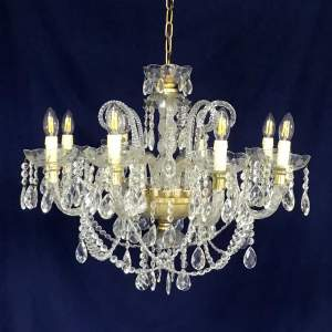 Early 20th Century Crystal and Brass Eight Branch Chandelier