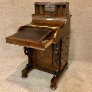 19th Century Burr Walnut Piano Top Davenport
