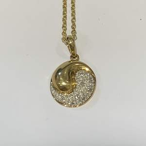 9ct Gold Yin and Yang Diamond Necklace