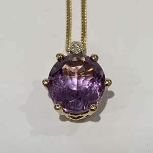Vintage 9ct Gold Amethyst And Diamond Necklace