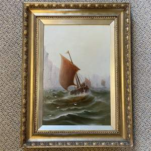Fishing Boats in a Storm Oil Painting by William J.S Crampton