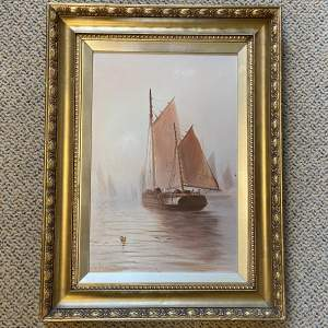 Fishing Boats in the Calm Oil Painting by William J.S Crampton