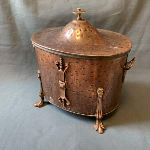 Arts and Crafts Brass and Copper Oval Hammered Fireside Box