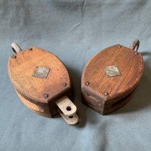 Pair of Large Ships Rigging Pulleys