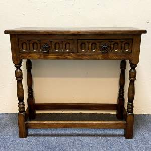 20th Century Oak Side Table with Two Drawers