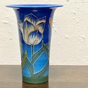 Sally Tuffin Tulip on Blue Background Vase