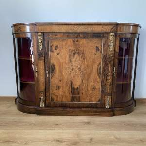 Walnut Inlaid Credenza with Hand Painted Detail - Display Cabinet