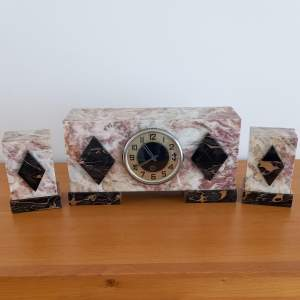Art Deco Marble Garniture Mantel Clock