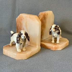 Pair of 1930s Spelter Spaniel Bookends