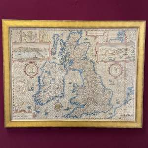Print After John Spades 1610 Map of Great Britain and Ireland
