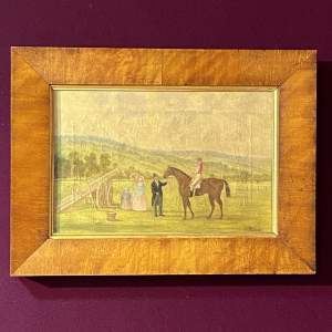 Early 19th Century Oil on Canvas Horse Racing Painting