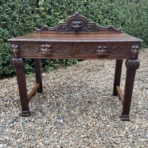 Victorian Carved Oak Green Man Side Table