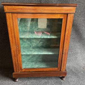 A Small Edwardian Mahogany And Boxwood Strung Display Cabinet