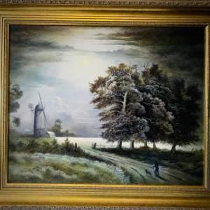 Moonlight Scene Oil on Board Painting