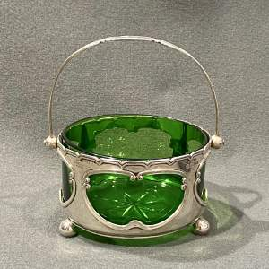 Edwardian Silver and Green Glass Bowl