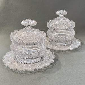 Pair of Regency Cut Glass Anglo Irish Bowls on Stands