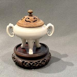 Chinese Qing Dehua Tripod Censer and Stand