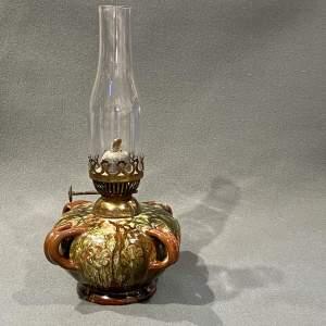 19th Century Linthorpe Floral Loop Handled Oil Lamp