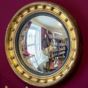 Large Regency Giltwood and Gesso Convex Mirror