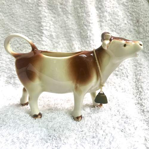 1950s Collectable Goebel-Hummel Porcelain Cow Creamer Brown and White image-2