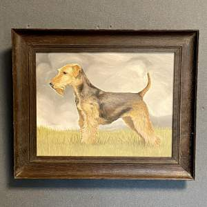 20th Century Oil on Board Painting of a Fox Terrier