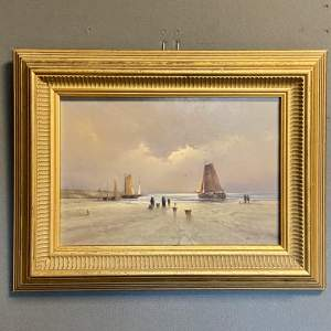 Andre Balyon Oil on Board Painting Awaiting the Catch